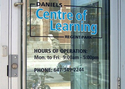 Daniels Centre of Learning door decal